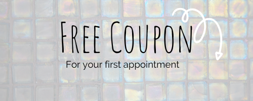 """A banner with the text """"free coupon for your first appointment"""" and a doodle arrow pointing to the contact form for Bellevue Mobile Massage below."""